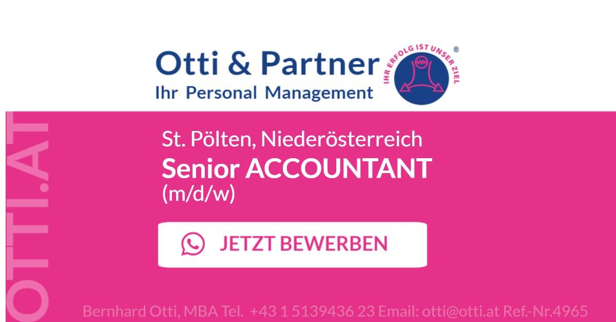 St. Pölten, Niederösterreich: SENIOR ACCOUNTANT (m/d/w)  internationale Firmengruppe